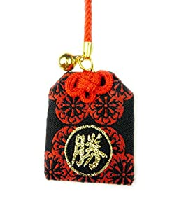 Japanese Luck Charm: Circle Black Red - Lucky Win