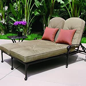 Darlee elisabeth 2 person cast aluminum patio for Braddock heights chaise lounge