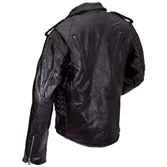 Diamond Plate(TM) Rock Design Genuine Buffalo Leather Motorcycle Jacket 7X