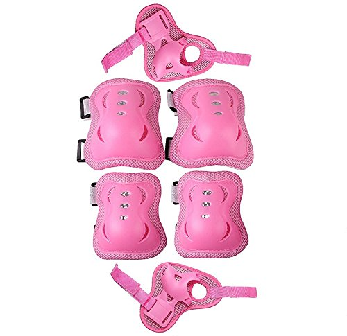 Why Should You Buy Kid's Roller Blading Wrist Elbow Knee Pads Blades Guard 6 PCS Set in pink-grey