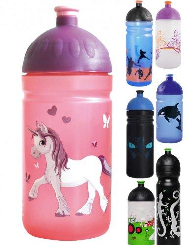 ISYbe-Trinkflasche-500ml-Einhorn-rosa-transparent-schadstofffrei-splmaschinengeeignet-auslaufsicher