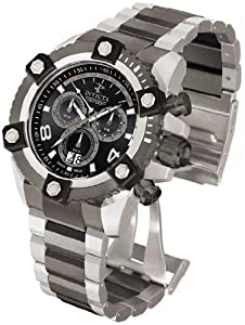 Invicta 338 Mens Two Tone Stainless Steel Reserve Arsenal Chronograph Black Dial Date Display Watch