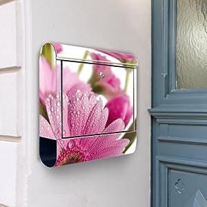 Design Briefkasten Edelstahl Briefkästen 38x42x11 von banjado mit Motiv Rosa Gerbera