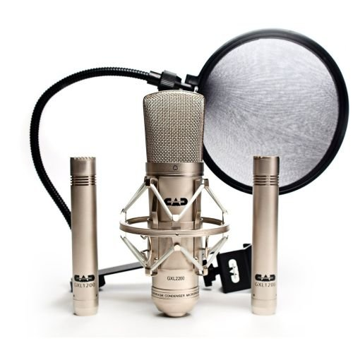 Cad Gxl2200Ssp Stereo Studio Pack With Gxl2200 Cardioid Condenser Microphone, Two Gxl1200 Cardioid Condenser Microphones, And Epf15A Pop Filter