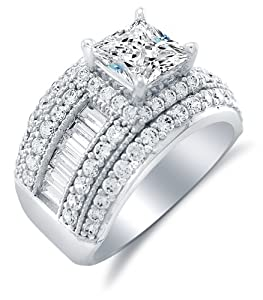 Size 9 - Solid 14k White Gold Large Wide Princess Cut Solitaire with Baguette and Round Side Stones Highest Quality CZ Cubic Zirconia Engagement Ring 3.5ct.
