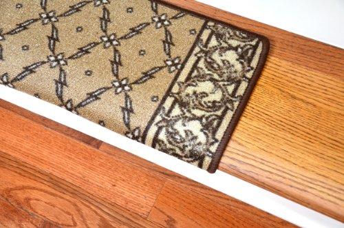 Dean Modern DIY Bullnose Wraparound Non Skid Carpet Stair Treads Trellis  Beige