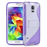 Fosmon HYBO-SK Dual Layer Hybrid Kickstand Case for Samsung Galaxy S5 (Purple)