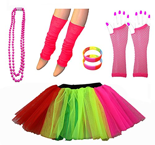 Neon Tutu Skirt Leg Warmers Fishnet Gloves Necklace Beads