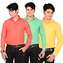 AEDI Mens Cotton Casual Shirts Combo (pack of 3)