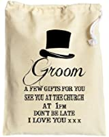 Large Personalised Cotton Gift Bag for the Groom before the Wedding