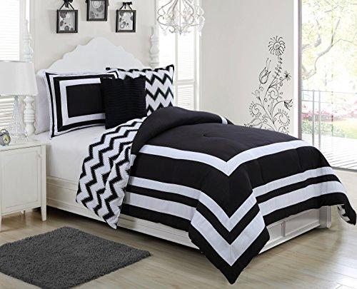 Avondale Manor Madeline 3 Piece Reversible Ikat Chevron Comforter Set, Twin, Black/White Home