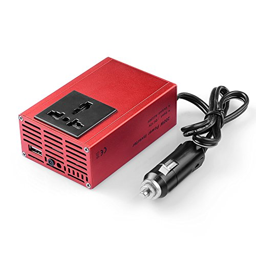 BESTEK? Dual USB 2.1A 200W Power Inverter Car 12V to AC 230V AC Inverter DC Adapter Laptop Charger Notebook Adapter DC Charger AC Adapter Dual USB Charger with 1 AC Outlet + USB Ports MRI2013U-RED