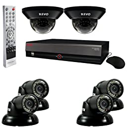 REVO America R84D2GT4G-1T 8-Channel 1TB DVR Surveillance System with six 700TVL 100-Feet Night Vision Cameras (Black)