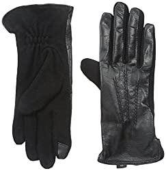 Gloves International Women's Leather and Wool Blend Gloves, Black/Blackberry, Large