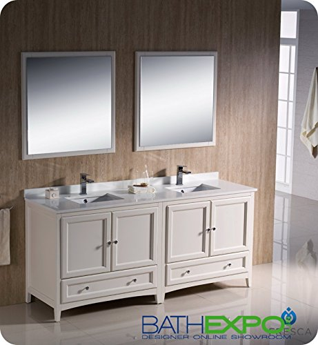 "Fresca Oxford 72"" Antique White Traditional Double Sink Bathroom Vanity front-268211"