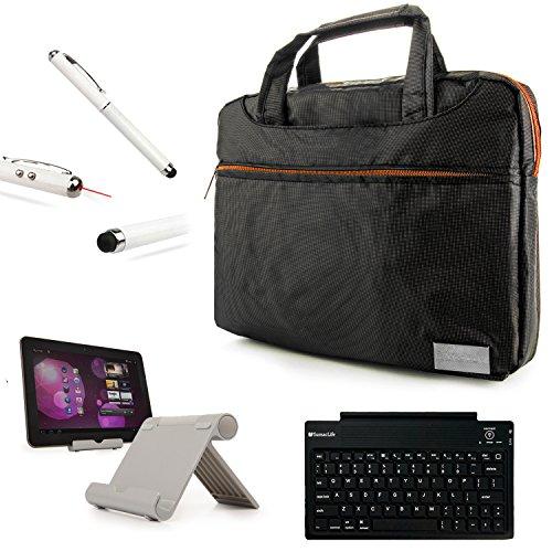 "Durable Nylon Lightweight Compact Messenger Bag For 8"" To 10.1"" Rca Tablets (Rct6573W23, Rct6293W23, Rct6203W46Kb, Rct6103W46, Rct6691W3) + Bluetooth Keyboard + Foldable Stand + Stylus Pen"