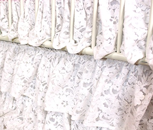 Vintage Lace 3 Tier Ruffled Waterfall Crib Skirt (White) (Vintage White Crib compare prices)