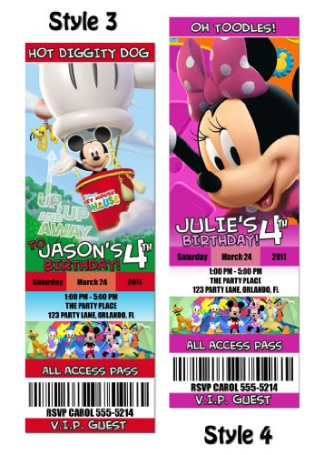 Mickey Mouse Clubhouse Custom Party Photo Invitation Tickets   You Print  Invitation Ticket Template