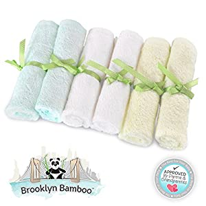 Brooklyn Bamboo Baby Washcloth / Wipes 6 Pack Organic, SOFT, Larger 10