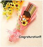 アカデミック ベア ブーケ 6色 祝 合格 卒業 入学 入園 おめでとう (3.ピンク, アカデミック)