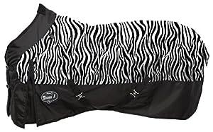 Tough 1 1200D Waterproof Poly Turnout Blanket in Fun Prints, Zebra, 75-Inch