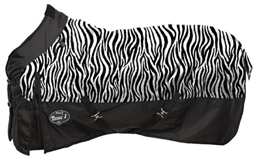 Tough 1 1200D Waterproof Poly Turnout Blanket In Fun Prints, Zebra, 78-Inch front-926045