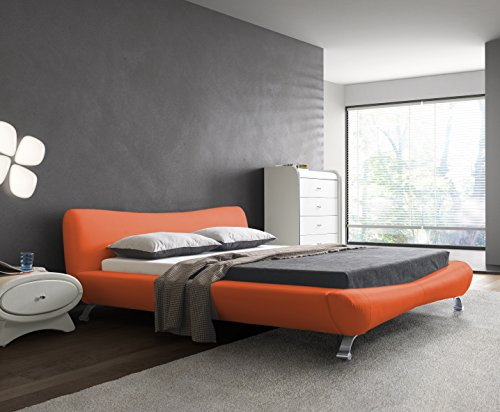 US Pride Furniture B8064-QB Joyce Leather Contemporary Platform Bed, Queen, Red (Making The Modern Qb compare prices)