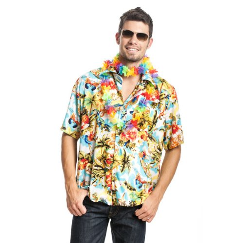 Kostümplanet® Hawaii Hemd Beach Party Hawai Hemd Blumen Größe 52/54