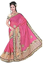 Aakriti Fashion Women's Georgette Saree(1353_ Cream and rani )