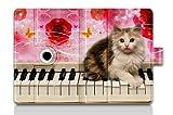 For Apple iPad Mini /Mini 2 / Mini Retina Folio Case Magnetic PU Leather Cover With Multi Smart Stand - Piano Kitty am-18520