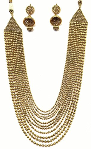 Shingar Jewellery Antique Gold Look 11 Line Long Necklace Set With Jhumki For Women (6298-rh-a)