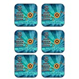 MeSleep Rakhi Wooden Coaster-Set Of 6 - B013LERX3I