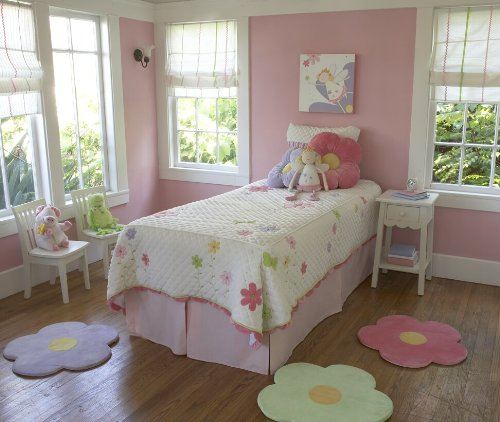 Pink Flower Area Rug For Kids Girls Room, Girls Area Rugs