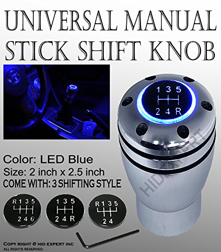 ICBEAMER JDM STYTLE Shift Knob Blue LED Top-Glow Series Aluminum Silver Manual Stick Shift (Blue Gear Shifter compare prices)