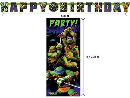 Teenage Mutant Ninja Turtle Birthday Banner and 2.25ft x 5ft Party Door Poster (Ninja Birthday Banner compare prices)