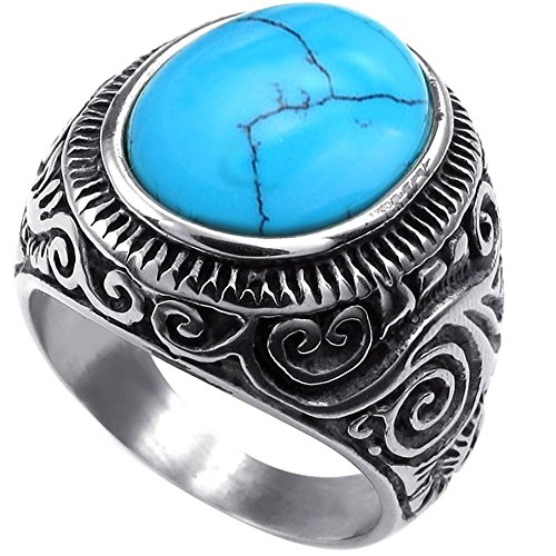 Men's Classic Vintage Turquoise Biker Stainless Steel Ring Band Silver Blue Size 11 (Silver Turquoise Ring compare prices)