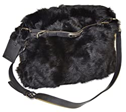Ralph Lauren Women Sheep Fur Messenger Handbag - Made in Italy