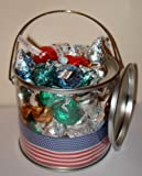 American Hershey assorted kisses stars & stripes gift pot