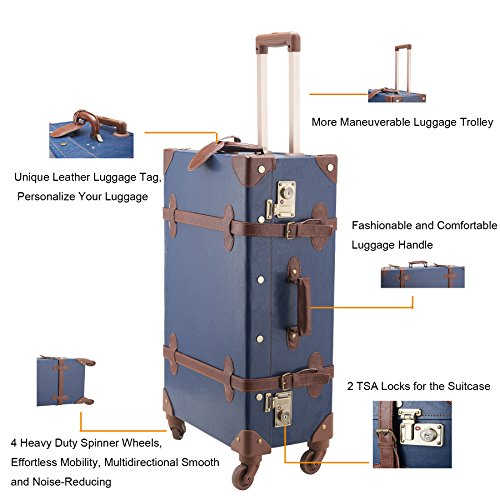"CO-Z Premium Vintage Luggage Set 24"" TSA Locks Wheel Suitcase with 12"" Hand Bag 3"