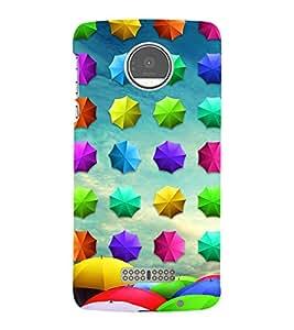 Colourful Umbrellas Pattern 3D Hard Polycarbonate Designer Back Case Cover for Motorola Moto Z :: Motorola Moto Z Droid in USA