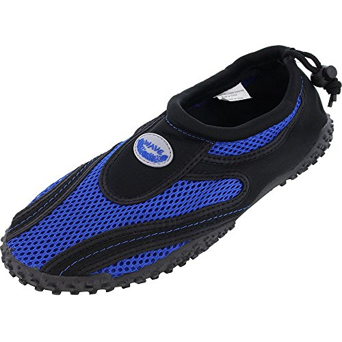 Women's Wave Water Shoes Pool Beach Aqua Socks, Yoga , Exercise 1185L Black/Royal 7