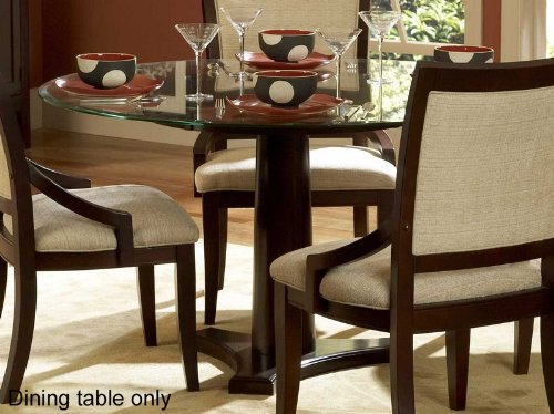 Cheap Round Dining Table with Glass Top in Dark Cherry Finish (VF_HE1377-54)