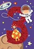 Gold Age 3 Boy Birthday Card Astronaut & Alien 9.5
