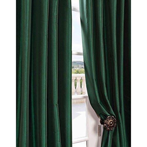 1kidandaheadache 39 s faux silk panel drape curtain window for Forest green curtains drapes