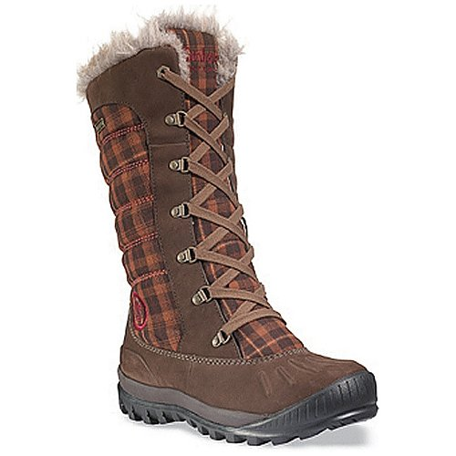Timberland Women's Earthkeepers® MH L/F Duck WP Boot/Faux Fur,Dark Brown Leather/Brown Plaid Fabric,US 5 W