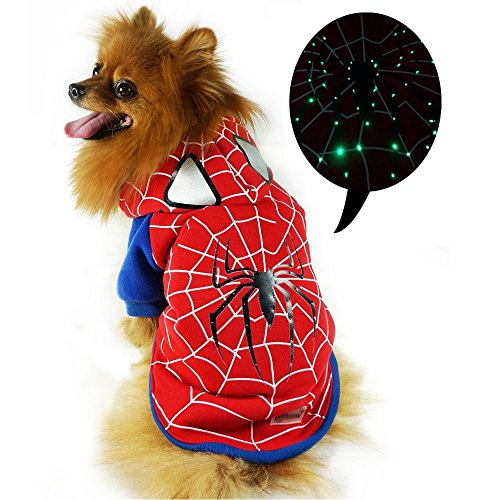 Pawow LED Light up Spiderman Pet Costume Puppy Dog Hoodie Coat Clothes, Large, 16-Inch