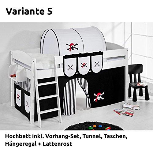 Hochbett Spielbett IDA Pirat Schwarz Weiß, mit Vorhang, weiß, Variante 5