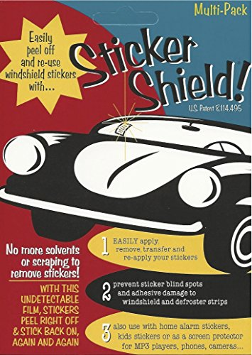 STICKER SHIELD - Windshield Sticker Applicator For Easy Application, Removal and Re-application From Car to Car - 4 inch x 6 inch sheets (Pack of 2 sheets) (Windows Shield compare prices)
