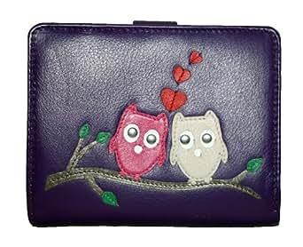 Mala Leather Medium Tab Purse Owl Pattern Style Kyoto 317945 (Purple)