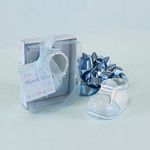 "Lunaura Baby Keepsake - Set of 12 ""Boy"" Baby Shoe With Thank You Card Favors - Blue - 1"